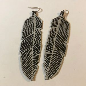 2 for $15 Leather feather earrings